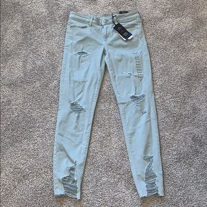 american eagle super stretch skinny ripped jegging